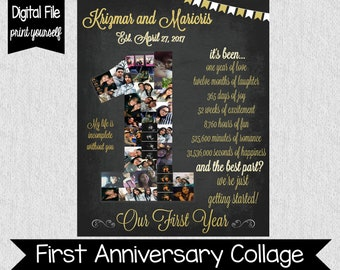 Black and Gold Wedding Anniversary Collage - Number 1 Collage - DIGITAL - First Anniversary Gift - One Year Anniversary Collage - Photos  sc 1 st  Etsy & One year anniversary for girlfriend | Etsy
