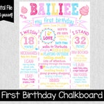 Cotton Candy First Birthday Chalkboard - One Year Old Girl Birthday Sign - Girl Summer Birthday Theme - Printable - Candy - One Year Old