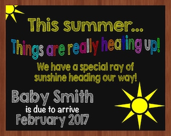 Summer Pregnancy Announcement - Ray of Sunshine Pregnancy Announcement - Pregnancy Announcement - New Baby - DIGITAL - Print Yourself