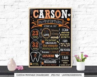 Halloween First Birthday Chalkboard - Digital - Pumpkins - Candy Chalkboard - Orange - Halloween Chalkboard - First Birthday Chalkboard