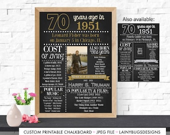 70th Birthday Sign - 70th Birthday - Fun Facts from 1951 - Adult Birthday Chalkboard - Digital - Party Decor - 70 Years Old - Fun Party -'51