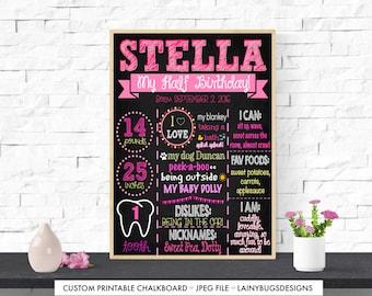 Girl's Half Birthday Chalkboard - DIGITAL - Six Month Birthday Sign - Girl 6 Months Old - Pink Half Birthday Sign - My Half Birthday - Pink
