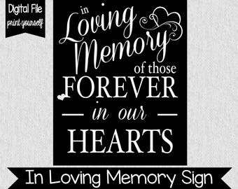 In Loving Memory Sign - Digital - Wedding Decor - Lost Loved Ones - Wedding Memorial Sign -Many Sizes Available - Wedding Decor - Loved Ones