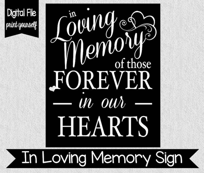 In Loving Memory Sign  Digital  Wedding Decor  Lost Loved image 0