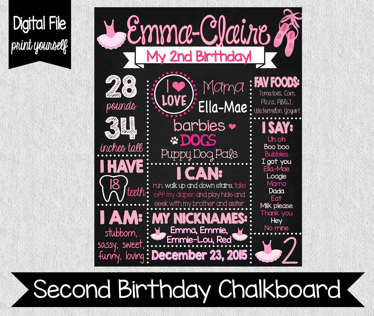 ballet themed 2nd birthday chalkboard - digital - ballerina chalkboard - girl's 2nd birthday chalkboard - pink ballerina cha