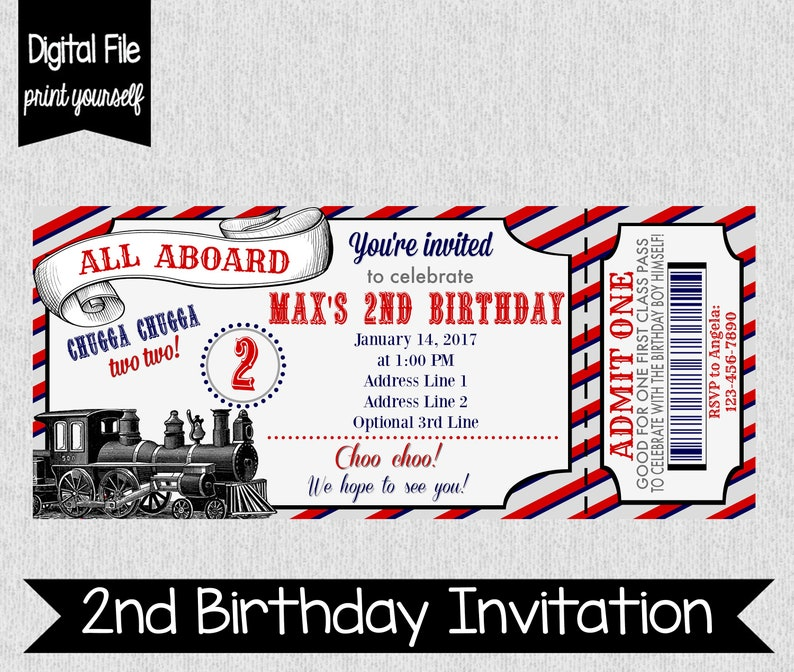 Chugga Two Birthday Invitation Second