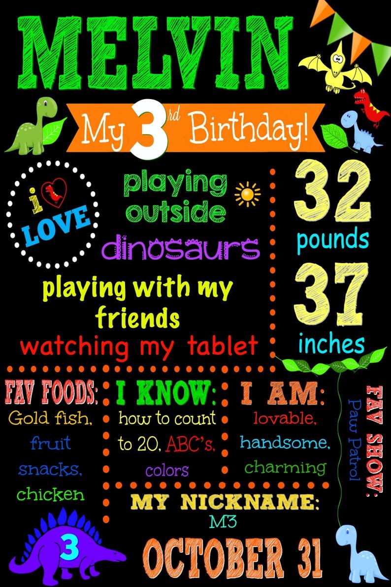 Dinosaur Themed 3 Years Dinosaur 3rd Birthday Chalkboard Third Birthday Sign Dinosaur 3rd Birthday Dinosaur Chalkboard Digital