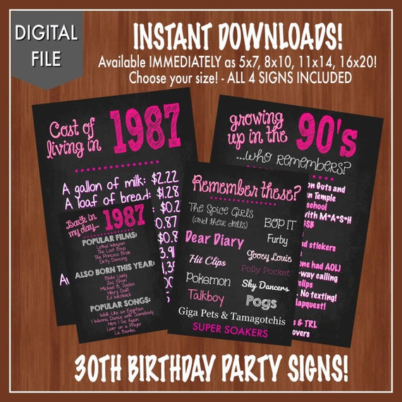 30th birthday party decor fun facts 80 s themed party etsy