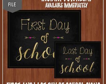 First Day of School Sign - Last Day of School Sign - Gold School Sign - Back to School Chalkboard - Digital - First Day of School Sign