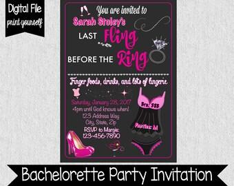 Fun Bachelorette Party Invitation - Last Fling Before The Ring Invitation - Bachelorette Party - Wedding - Bridal Party - Digital