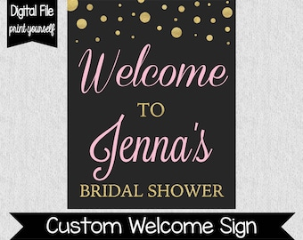 Pink and Gold Bridal Shower Welcome Sign - Champagne Bridal Shower - Bridal Shower Welcome Sign - Champagne Brunch Shower - Pink - Gold