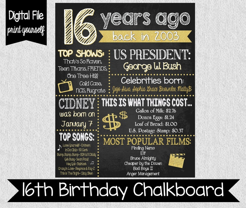 16 Years Ago - 16th Birthday Fun Facts - The Year You Were Born Chalkboard  Sign - Digital - 2003 Fun Facts - Sweet 16 Party Decor - Gold