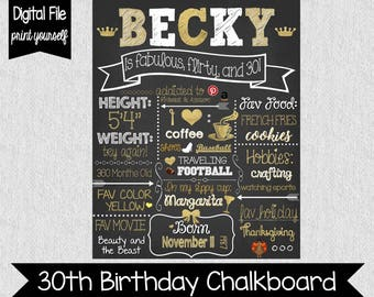 Gold and White 30th Birthday Chalkboard - Digital - Fabulous, Thirty, Flirty - 30th Birthday Chalkboard - Adult Cake Smash - 30 Years Old