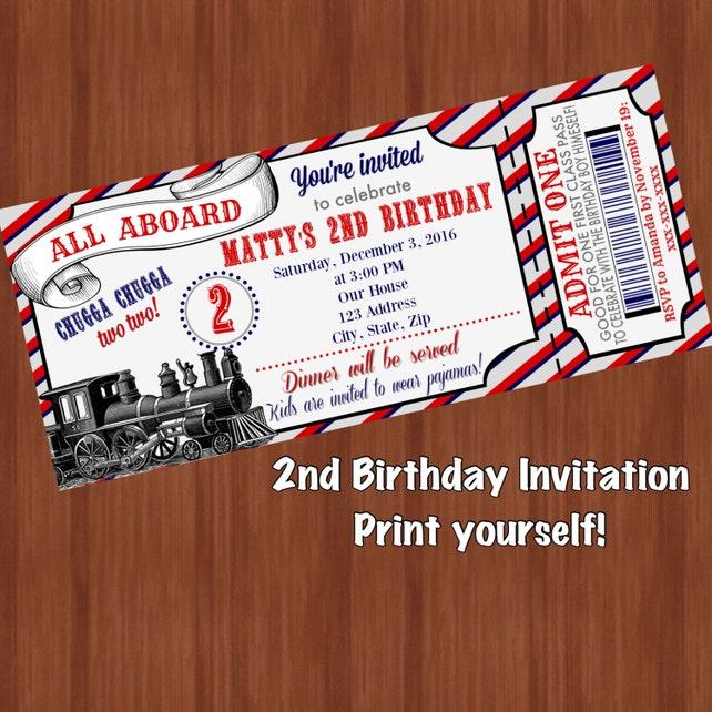 Chugga Two Birthday Invitation