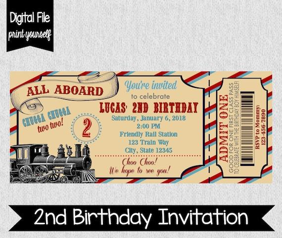 Train Second Birthday Invitation Party