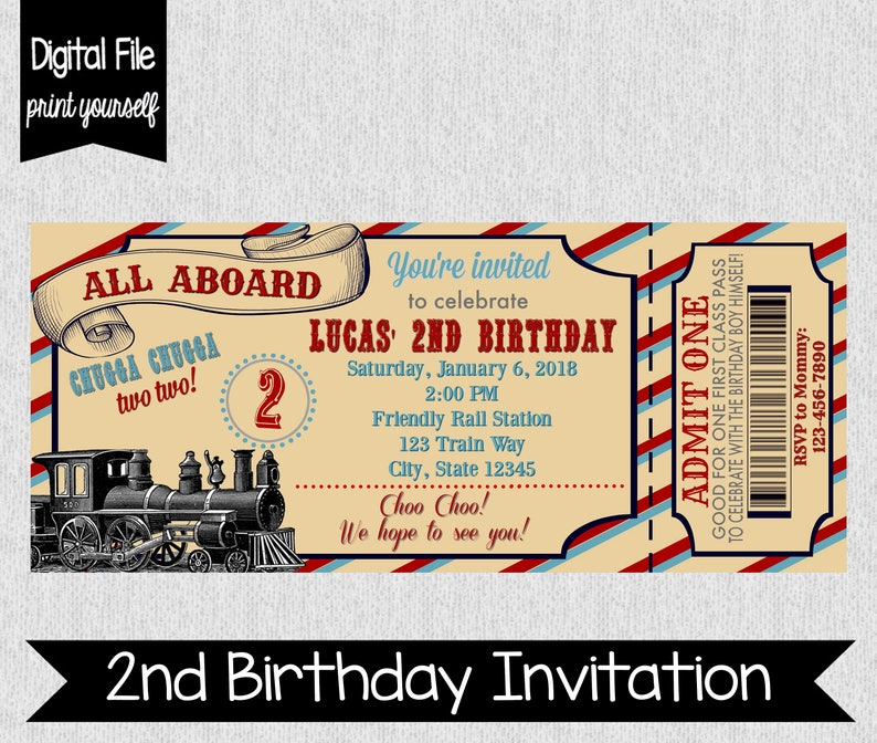 Train Second Birthday Invitation Party