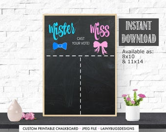 Mister or Miss Gender Reveal Voting Chart - Mister or Miss - Pink or Blue - Gender Reveal Voting - Gender Reveal Party - Decor