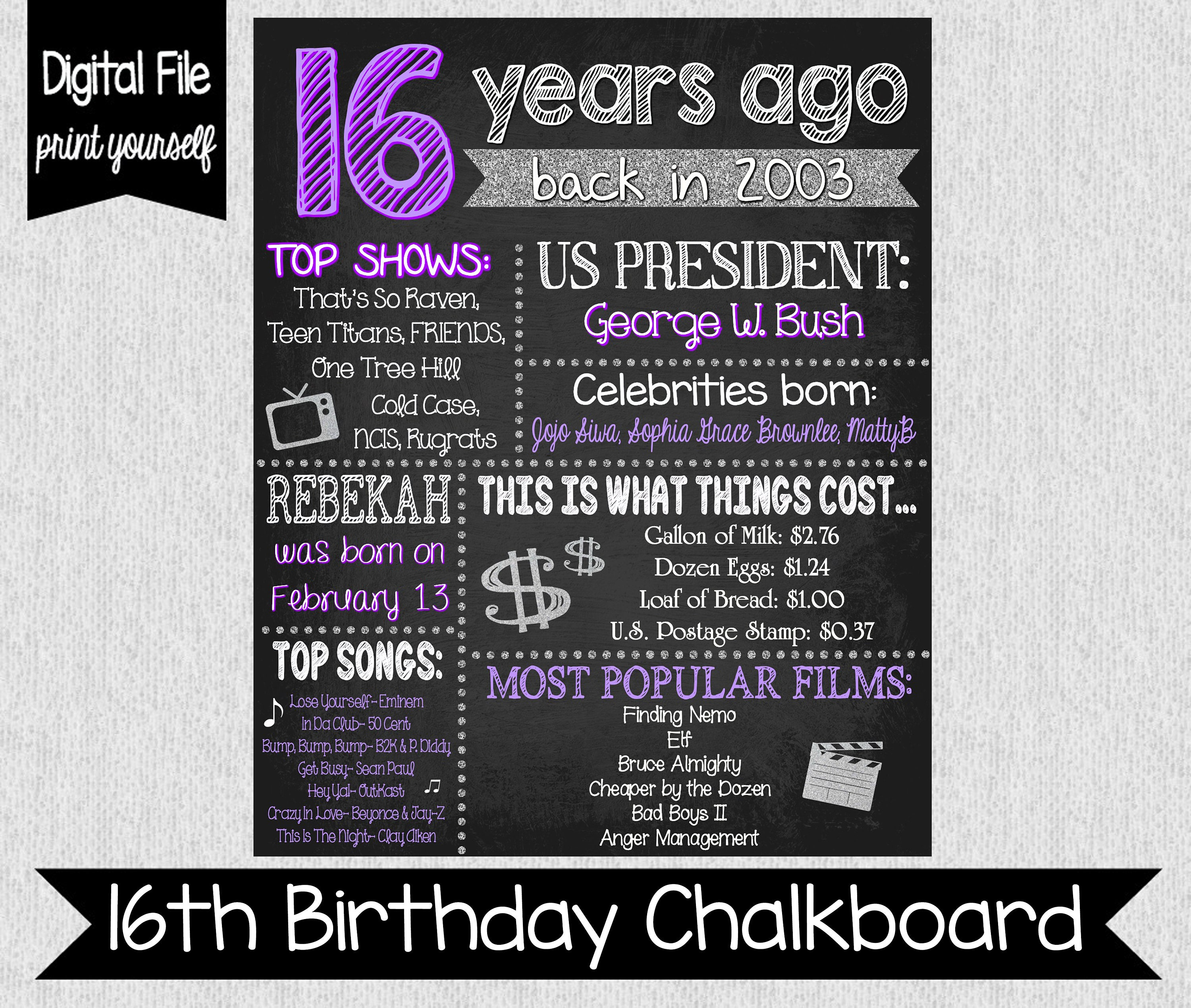 Sweet 16 Fun Fact Sign - 16th Birthday Chalkboard - Digital - Purple and  Silver 16th Birthday - Sweet 16 Party Ideas - 2003 - Fun Facts