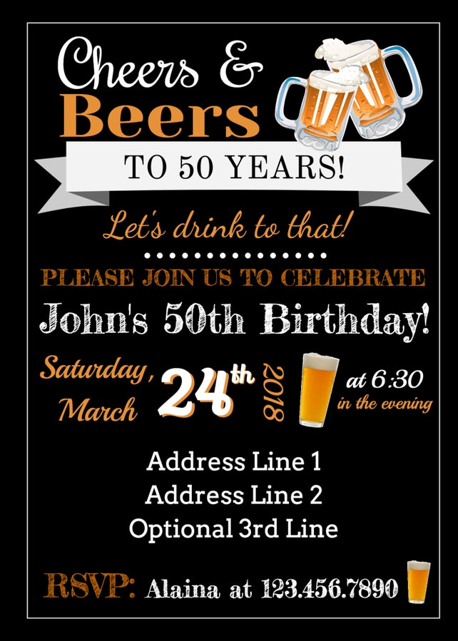 Cheers And Beers To 50 Years Invitation