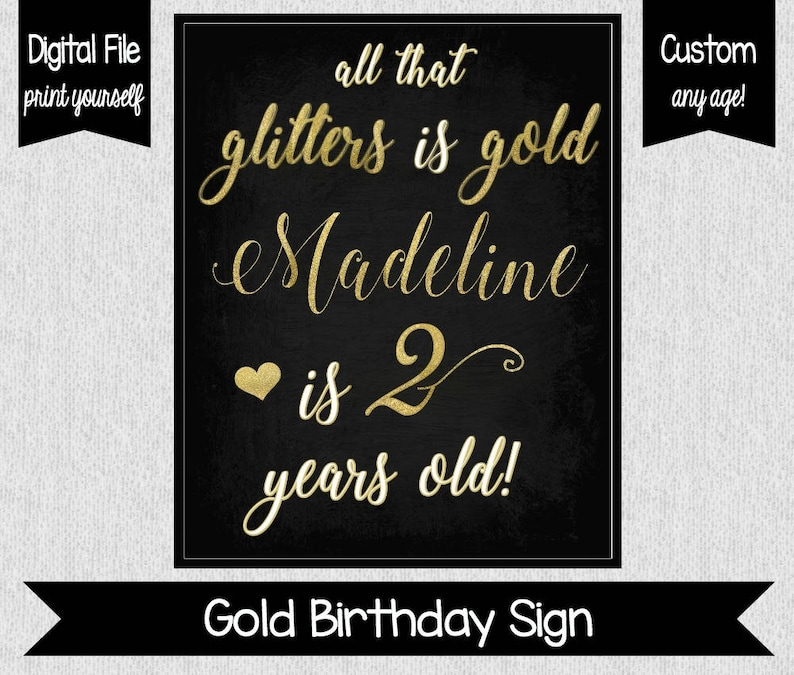 Two Fancy Sign  All That Glitters is Gold  Girl 2nd Birthday image 0