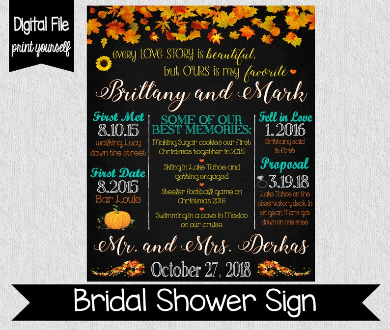 Fall Themed Bridal Shower Sign - Engagement Chalkboard - Digital - Every  Love Story Is Beautiful Sign - Wedding/Bridal Shower Decor - Fall