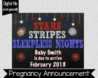 4th of July Pregnancy Announcement - Stars, Stripes, Sleepless Nights - Fourth of July Pregnancy Announcement - Pregnancy Announcement