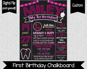 Pink First Birthday Chalkboard - First Birthday Chalkboard - Digital - Girl First Birthday Sign - About Me Poster - Pink Birthday Party