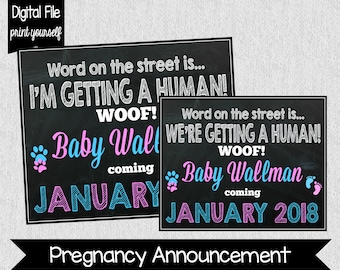 Dog Pregnancy Announcement - Pregnancy Announcement with Dog - Pet Baby Announcement - Mom & Dad are getting me a human - Digital File