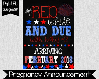 4th of July Pregnancy Announcement - Red, White, and Due - Baby #2 - Pregnant - Fourth of July Pregnancy Announcement - Fireworks - DIGITAL