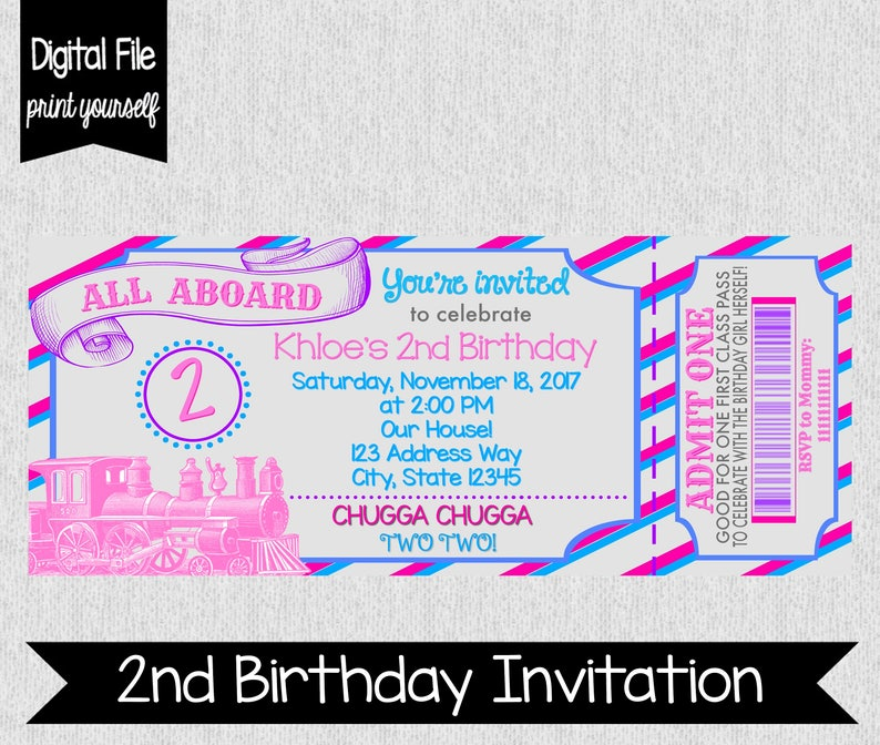 Girls 2nd Birthday Train Invitation Girl