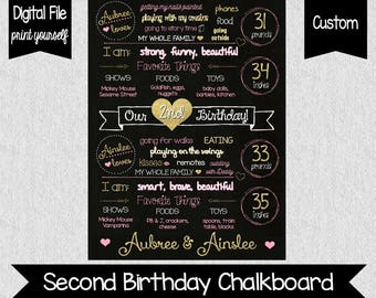 Two Fancy Twin Birthday Sign - Pink and Gold Twin 2nd Birthday Chalkboard - Twin Birthday Sign - Twin Girls Chalkboard - Pink & Gold 2nd
