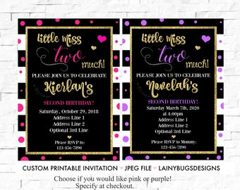 Little Miss Two Much Birthday - Two Much Birthday Invitation - 2nd Birthday Invitation - Pink and Gold Birthday Invite - 2nd Birthday Girl