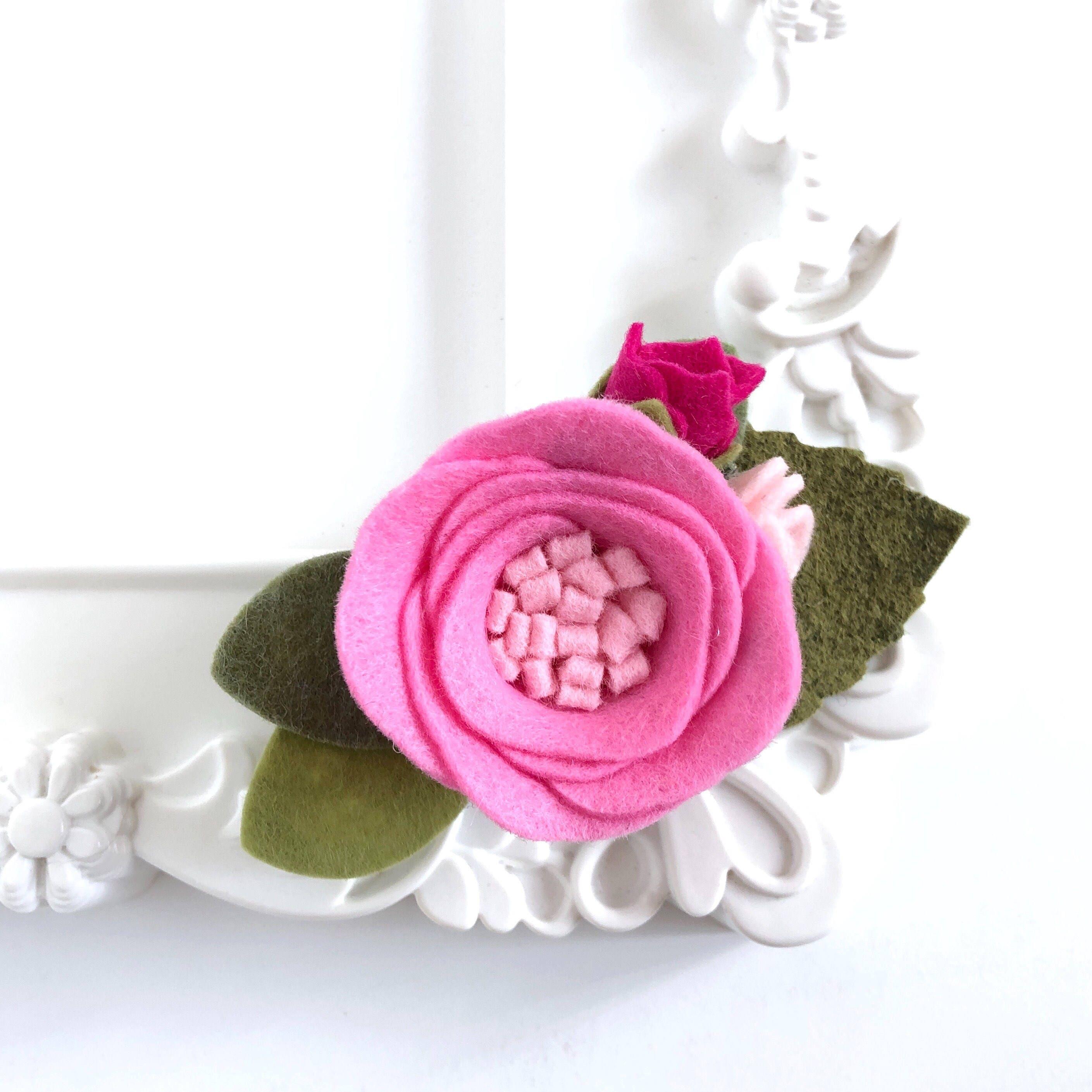 Pink felt flower crown girl baby felt flower headband pink etsy zoom izmirmasajfo