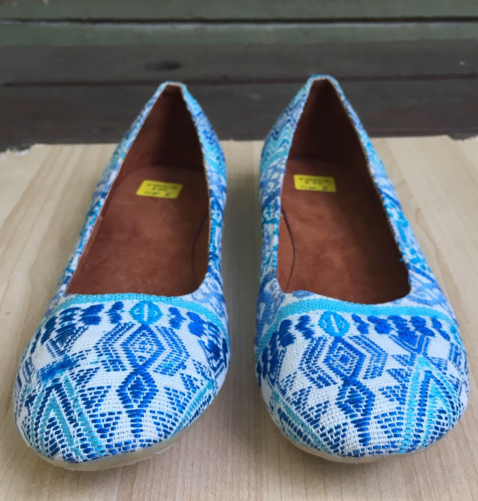 blue tones, hand embroidered, slip one flats, ballet, handmade guatemalan textiles, huipil, guipil