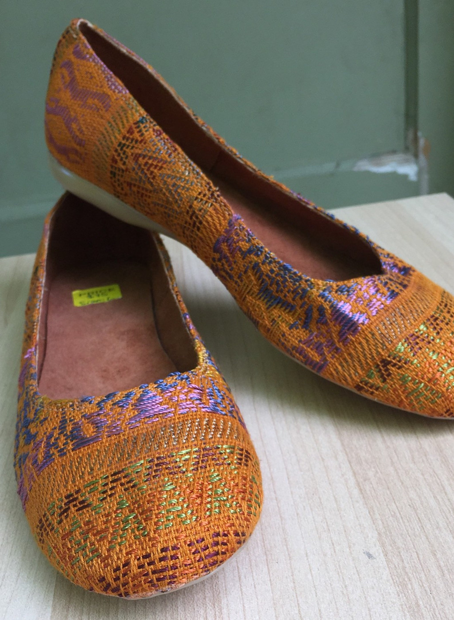 honey, hand embroidered, slip on flats, ballet flats, handmade in guatemala, guipil textiles