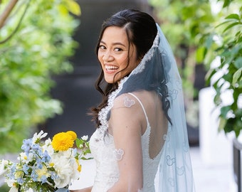 Disney Mickey Veil, Blue Veil, Ivory Lace Veil, Crystal Mickey Veil, Mickey Bridal Veil with Lace, Disneyworld Bridal Veil, Mouse Ears Veil