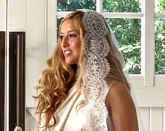 Wedding Veil, Mantilla Veil, Lace Veil, Drop Veil, Chantilly Lace Veil,Bridal Veil-CHARMAINE VEIL