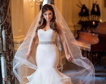 Wedding Veil, Soft Tulle Veil, Bridal Veil, Single Tier Veil, Classic Veil, Simple Veil, Veil, Fingertip Veil, Modern Veil- JUNE BRIDE