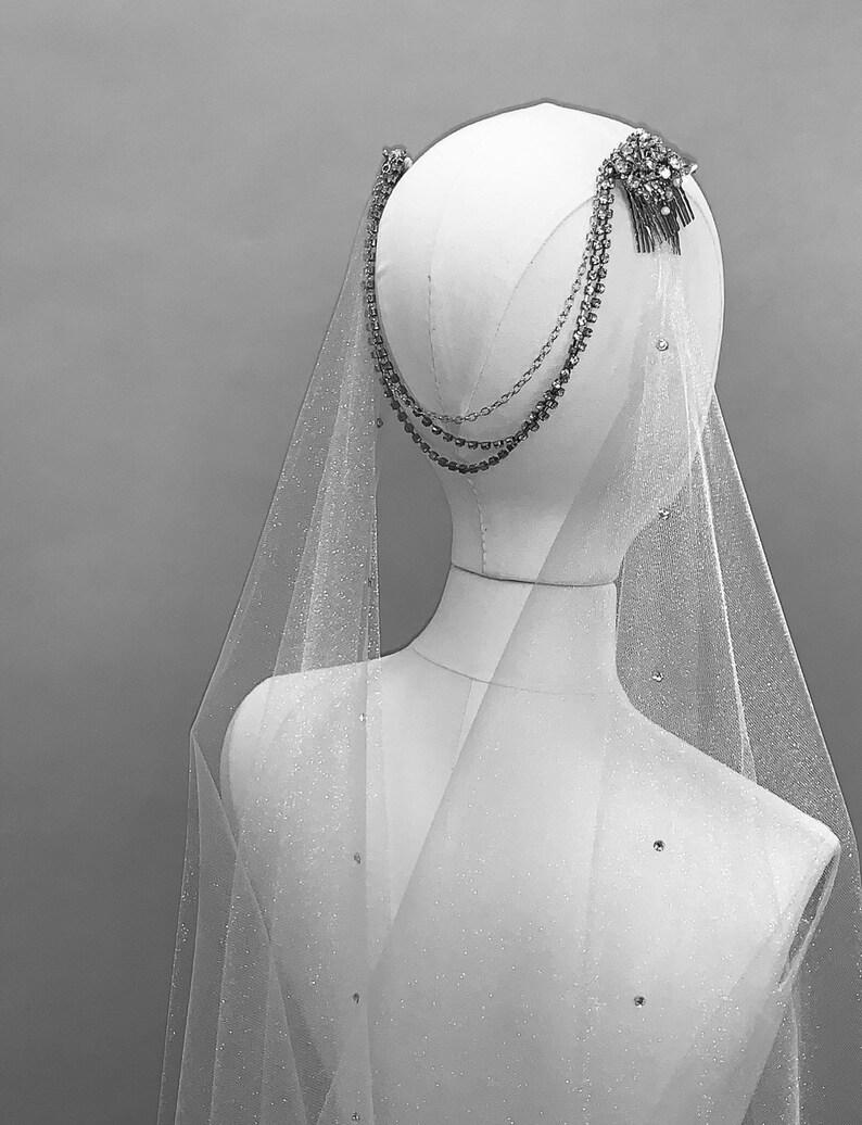 Drape Veil Draped wedding veil draped veil bohemian veil image 0