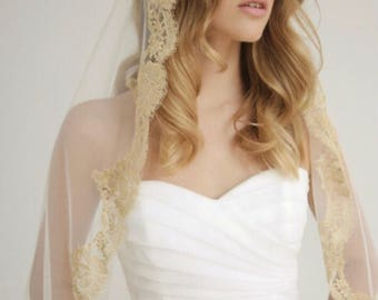 Gold Lace, Mantilla, Lace Wedding Veil, Drop Veil, Bridal Veil, Wedding Veil, Luxury Veil, Chantilly Lace Veil, Cathedral Veil- DUCHESS VEIL