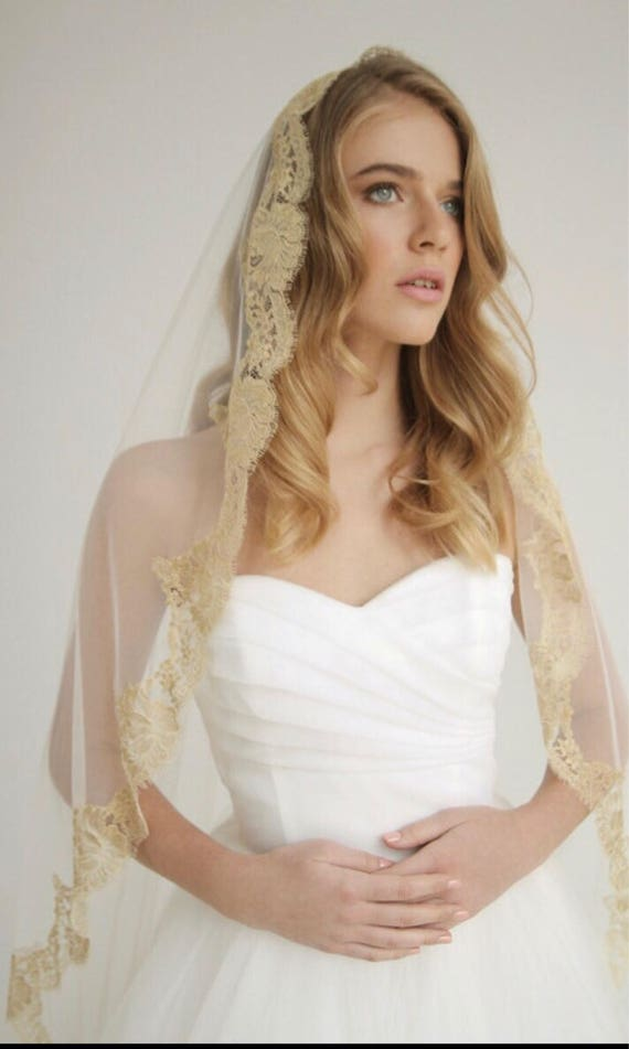 Gold Lace Mantilla Lace Wedding Veil Drop Veil Bridal Etsy