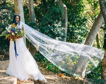 Floral Veil, Wedding Veil, Beaded Floral Applique Veil, Bridal Veil With Pearls, Pearl Veil, Bridal Veil  Veil Ivory - ENGLISH BREEZE VEIL