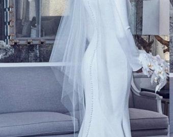 Triangular Veil, Bridal Veil, Plain Veil , Wedding Veil,  Vintage Veil, Angel Cut Veil, Handkerchief Veil-  HEATHER VEIL