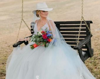 Blue Wedding Veil, Wedding Veil, Something Blue Veil, Bridal Veils, Glimmer Tulle Soft Blue, Garden Wedding Veil- MISTY MORNING