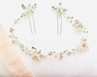 Silver Hair Vine , Bridal Hair Vine, Crystal Headpiece, Pearl Headpiece, Bridal Headband, Wedding Headpiece-SILVER LYRIC