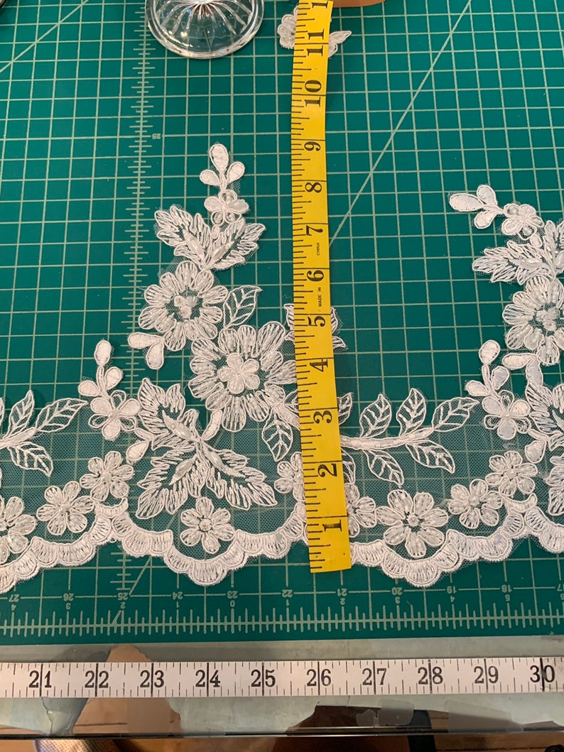 Lace Swatch  LiLight Ivory Beaded Lace Floral Lace Ever image 0