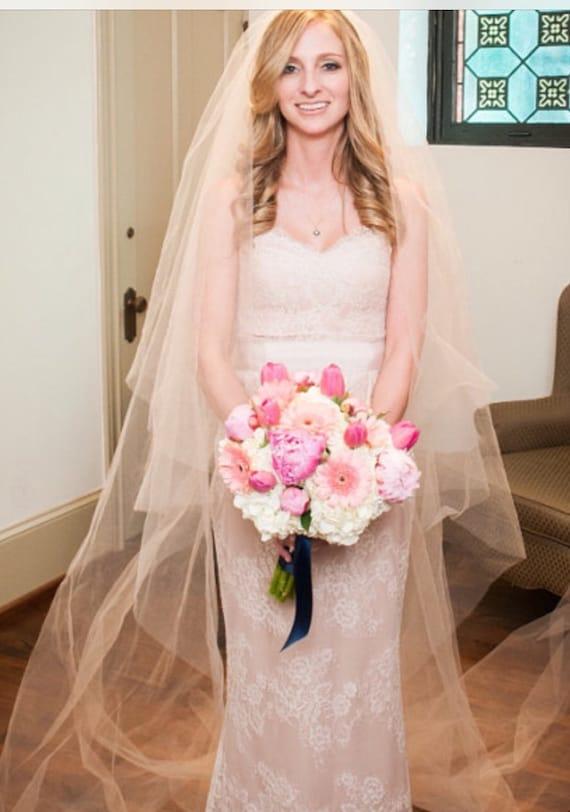 Blush Bridal Veil Bridal Veil Drop Veil Pale Pink Veil | Etsy