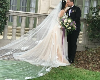 Drop Veil,Pearl Veil, Soft Tulle Veil, Cathedral Veil,Drop Wedding Veil, Circle Veil, Two Tier Bridal Veil, Long Veil   - WINDSOR WISHES