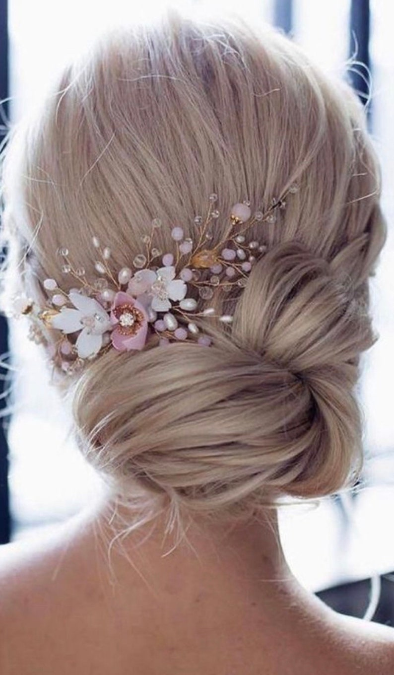 Floral Hairpins Ivory Hairpins Beaded Floral Hairpins Pink image 0