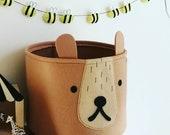 Nordic inspired felt toy storage, bear basket, woodland room decor